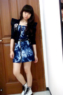 Black-random-blazer-blue-nyla-dress-white-doc-martens-boots