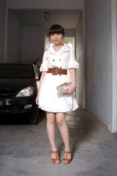brown Zara belt - brown Charles & Keith shoes - white random boutique dress