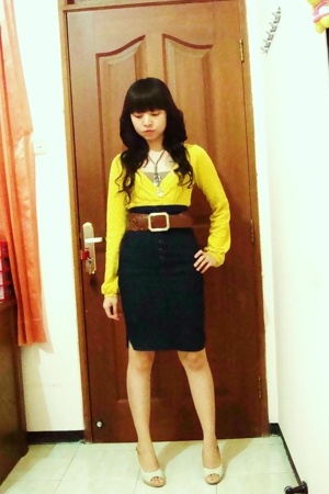 Zara sweater - Mango skirt - Body&Soul belt - charles&keith shoes