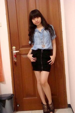 Zara shirt - Zara skirt - GoJane shoes
