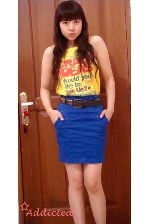 Zara t-shirt - Zara skirt - Mango belt