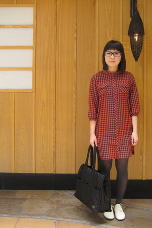 lowrys farm dress - Muji shoes - headporter tanker purse - glasses - accessories