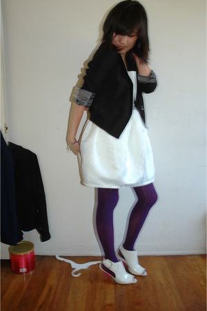 f21 dress - UO blazer - tights - f21 shoes