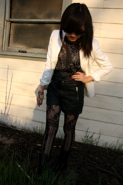 white blazer - black shorts