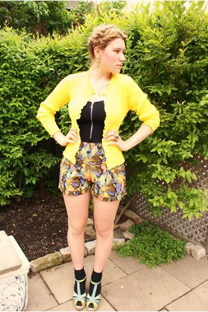 yellow unknown cardigan - brown Motel Rocks shorts - black Motel Rocks top - bla