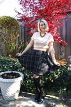 navy Tommy Hilfiger skirt - black Pegabo boots - black Givenchy tights