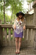 purple American Apparel skirt - white Costa Blanca top - brown boutique in Lithu