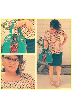 turquoise blue Lionel bag - navy skirt - peach Target blouse - nude Fioni heels