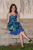 green DIY earrings - blue Costume from a play dress - black Nine West shoes