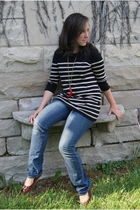 black Urban Outfitters sweater - red Kenneth Jay Lane necklace - blue Gap jeans