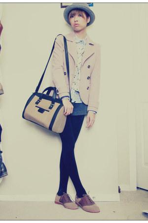 brown town shoes shoes - light pink H&M jacket - tan Zara bag