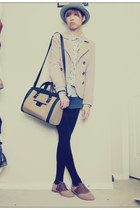 brown town shoes shoes - light pink H&M jacket - tan Zara bag