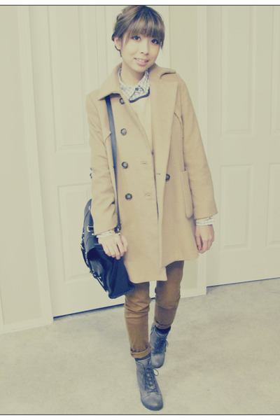 charcoal gray Spring Shoes boots - beige Zara coat - tawny Forever21 jeans