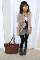 Aldo boots - H&M blazer - tights - shorts - Forever21 belt - printed tee Zara t-