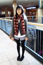 gray H&M jacket - white from taiwan dress - blue Bluenotes sweater - red winners