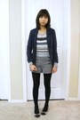 Zara-coat-old-navy-sweater-h-m-blazer-forever21-shorts-franco-sarto-flat