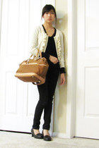 army green Jacob coat - black H&M sweater - camel DKNY bag - cream H&M cardigan