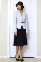 le chateau hat - striped blazer H&M blazer - Jacob skirt - Steve Madden heels