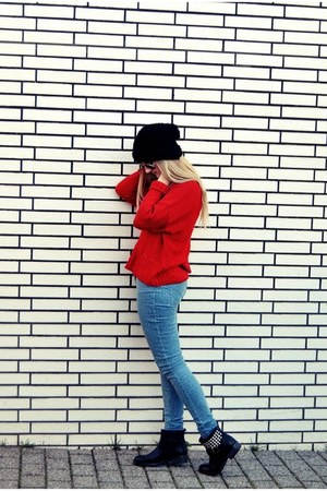 red lindex jumper - black Akira boots - sky blue just femme jeans