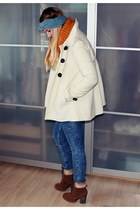 white Zara coat - brown zalando boots - sky blue Zara jeans