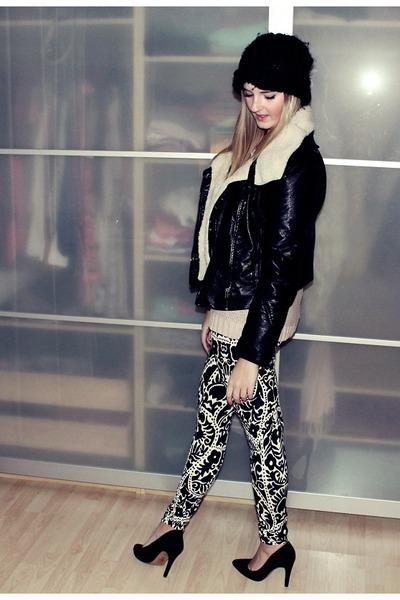 black H&M hat - black H&M jacket - white H&M leggings - black Mango pumps