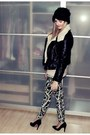 Black-h-m-hat-black-h-m-jacket-white-h-m-leggings-black-mango-pumps