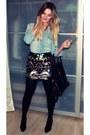 Black-noname-bag-light-brown-gina-tricot-skirt-black-mango-heels