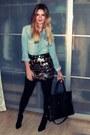 Black-noname-bag-black-mango-heels-light-brown-gina-tricot-skirt