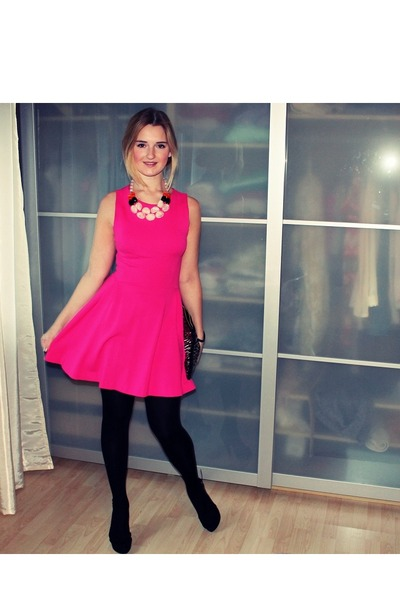 black Primark purse - hot pink Zara dress - light pink H&M necklace