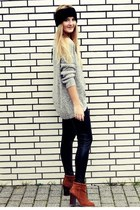 heather gray Vero Moda jumper - brown Zign boots - black H&M hat