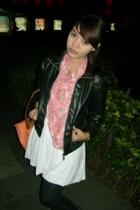 black leather jacket - white dress - black leggings - pink starry scarf scarf