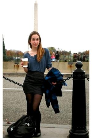 black H&M skirt - blue H&M shirt