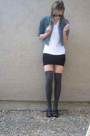 vintage jacket - Hanes t-shirt - aa dress - aa socks