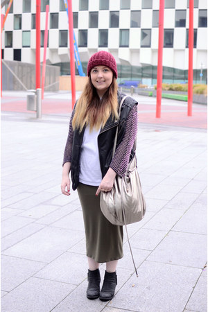 studded beads Topshop cardigan - burgondy H&M hat - metallic H&M bag