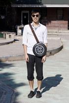 black shoes - black sunglasses - white top - black pants