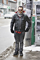 dark gray jeans - black jacket - ruby red shirt - heather gray scarf
