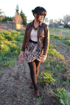brown banana republic jacket - light pink H&M shirt - ivory H&M skirt - dark bro