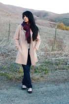 neutral camel wool banana republic coat - light grey calvin klein sweater