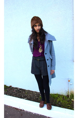 heather gray Gap coat - dark brown Target hat - purple Marshalls shirt - dark gr