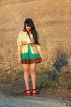 gold H&M sweater - red material girl heels - teal H&M skirt