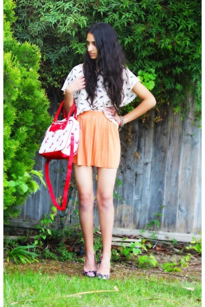 red asos bag - off white H&amp;M shirt - light orange asos skirt - black asos pumps