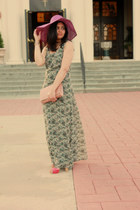 green H&M dress - coral H&M bag - hot pink Nine West heels