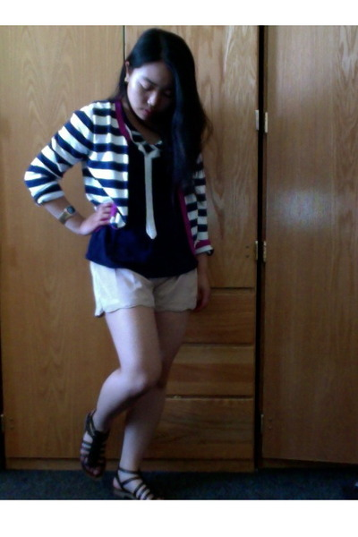 striped Old Navy cardigan - gladiators Nordstrom sandals