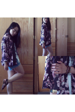 kimono H&M cardigan - denim cotton on shorts - graphic artwork top