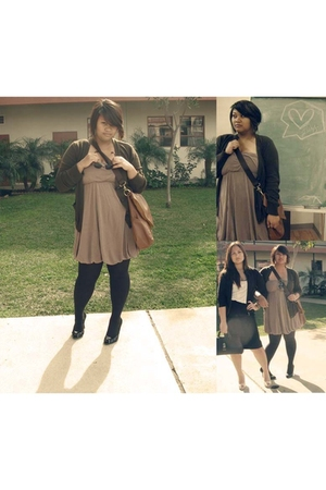 brown --- cardigan - brown Buffalo Exchange dress - black --- shoes - black Targ