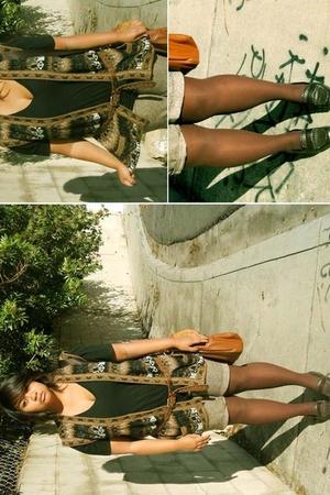 brown thrift store  vest - black American Apparel shirt - brown Target tights -