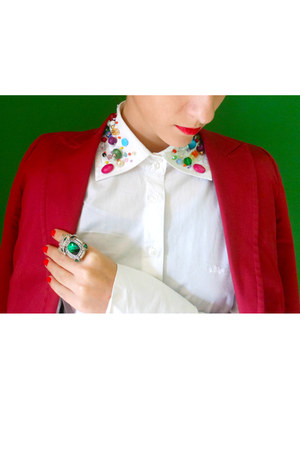 white my design shirt - maroon Zara blazer