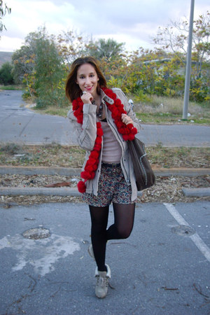 ruby red scarf - heather gray Guess boots - beige Zara jeans