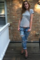 violet Delias jeans - silver Gap t-shirt - heather gray suede Mossimo wedges