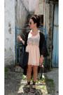 Light-pink-bershka-dress-black-h-m-cape-black-pull-bear-sandals